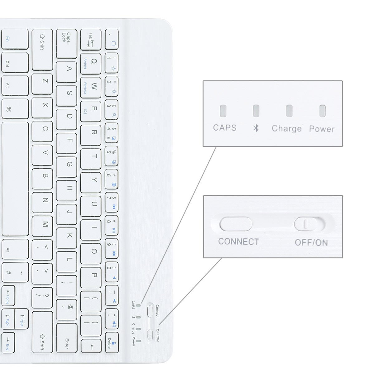 CoastaCloud Portable 10-inch Ultra Slim ABS Wireless Bluetooth Keyboard for iPad 10.5, iPad 9.7'', iPad Pro, iPad Air, iPad 2/3/4, Galaxy Tab Note and Any iOS, Android, Windows Tablets (White) by CoastaCloud (Image #3)