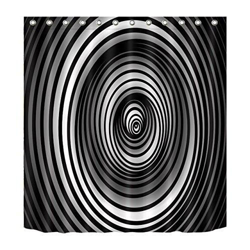 LB Funny Magic Dizzy Spell Cheat Eyes Illusion Decoration Shower Curtain Polyester Fabric 72x72 Waterproof Black White Speaker Box Bathroom Bath Curtains]()