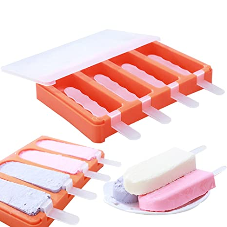 Compra naisicatar moldes de hielo con tapas helado Pop molde ...