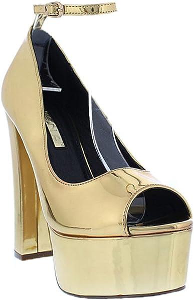 36aaac11d2b5 Liliana Metallic Mirror Peep Toe Platform Chunky High Heel Patent Sandal  Momento2(Mirror Gold 7.5