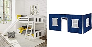 Max & Lily Solid Wood Twin Low Bunk Bed with Slide, White & Cotton Underbed Curtains, Blue & White