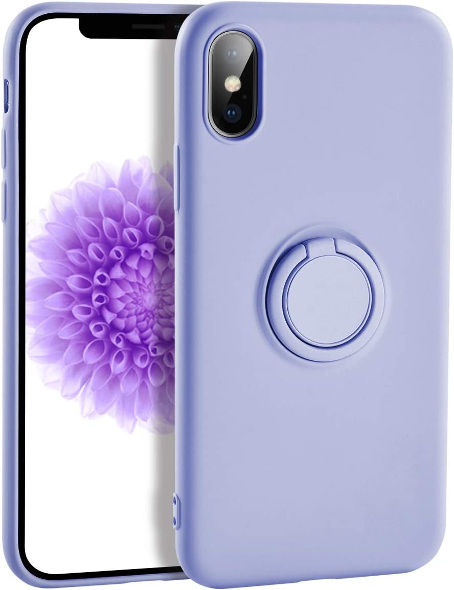 iPhone XR Case Silicone,Yoopake XR Liquid Silicone Case with Ring Holder Kickstand Work with Magnetic Car Mount Shockproof Soft Slim Fit Phone Cover Case for Apple iPhone XR,Purple