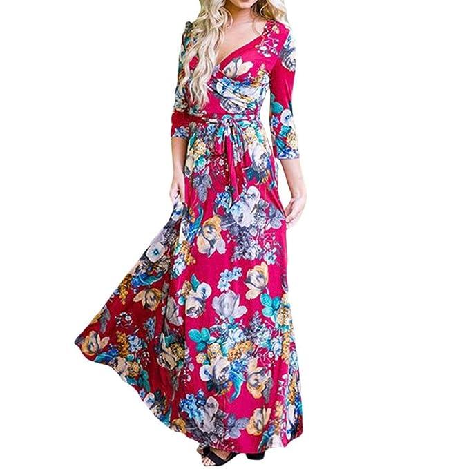 6675c8370 Wanshop ® Vestito Lungo Elegante Donna Cerimonia Abito Maniche 3/4 Vestiti  Stampa Floreale Scollo