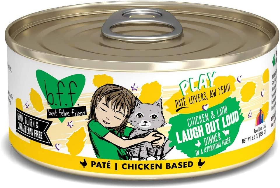 B.F.F. PLAY - Best Feline Friend Paté Lovers, Aw Yeah!, Chicken & Lamb Laugh Out Loud with Chicken & Lamb, 5.5oz Can (Pack of 8)