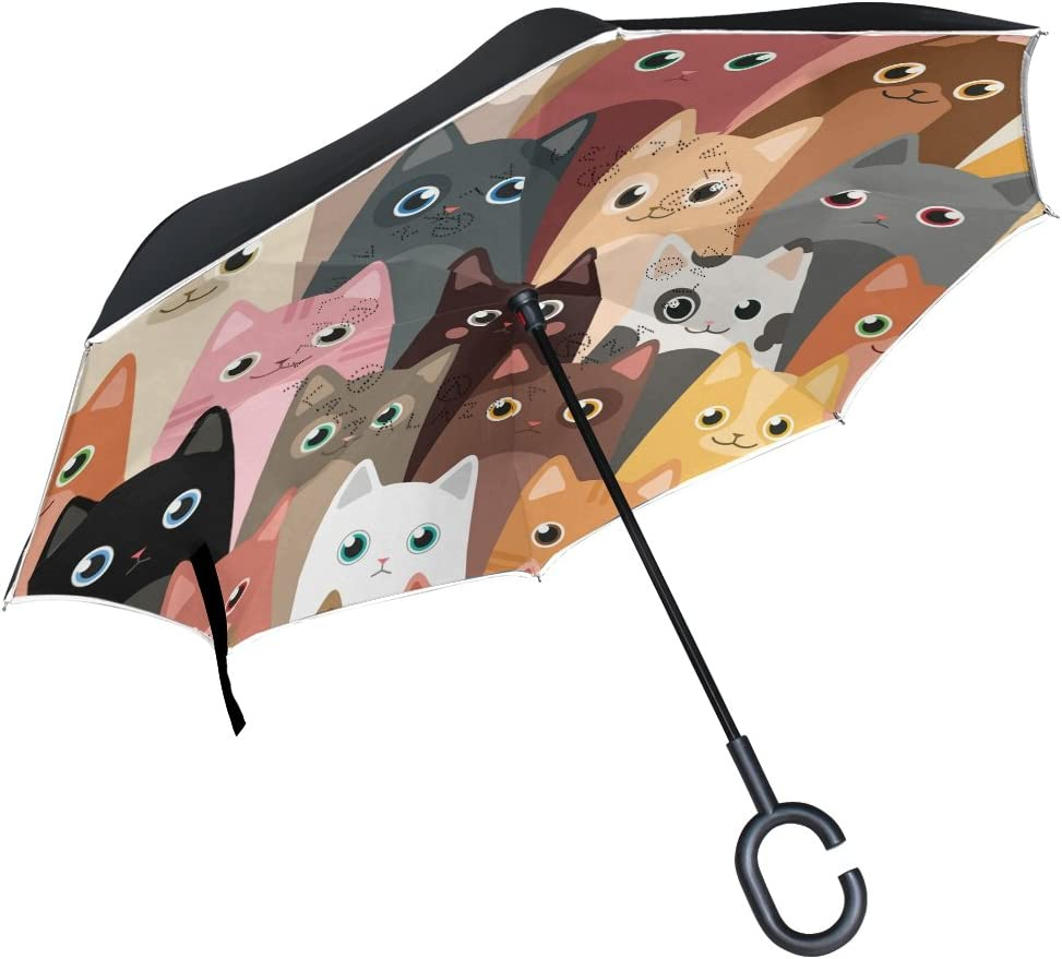 Reverse Umbrella Double Layer Inverted Umbrellas For Car Rain Outdoor With C-Shaped Handle Mermaid Kitty Cat Cartoon Characters Underwater Personalized