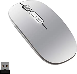 YIOYULEN Wireless Mouse, Bluetooth Mouse 2.4G Rechargeable Computer Mouse USB Silent Mouse with 3 Adjustable DPI Wireless Mouse for Laptop/PC/Chromebook/MacBook/Linux/Phone/Windows 7 or Above (Silver)
