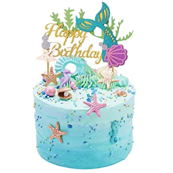 Sakolla Glitter Mermaid Cake Topper Happy Birthday Picks Decoration For Baby Shower