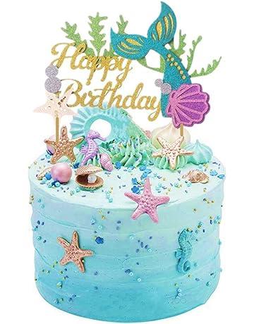 Sakolla Glitter Mermaid Cake Topper Happy Birthday Picks Decoration For Baby Shower