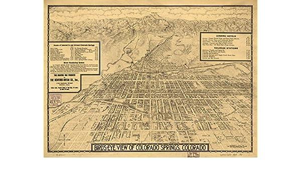 18x24 Colorado Springs Colorado 1909 Historic Panoramic Town Map