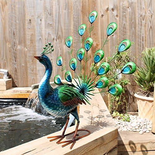 en m/étal peinte /à la main Primus/® Statue de jardin r/éaliste en forme de paon faisant la roue aux couleurs /éclatantes pour lint/érieur ou lext/érieur/; taille grandeur nature r/éaliste