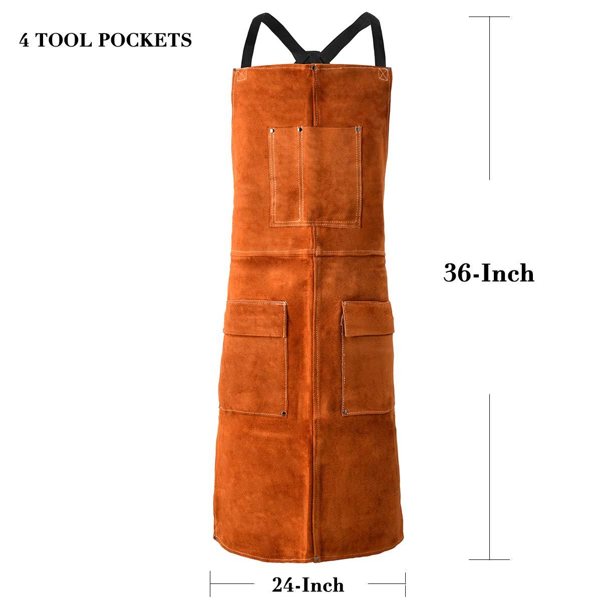 LEASEEK Leather Welding Work Apron - Heat Resistant & Flame Resistant Bib Apron, Flame Retardant Heavy Duty BBQ Apron, Adjustable One Size Fit Most - 24'' X 36'',Brown (Brown) by LeaSeeK (Image #2)