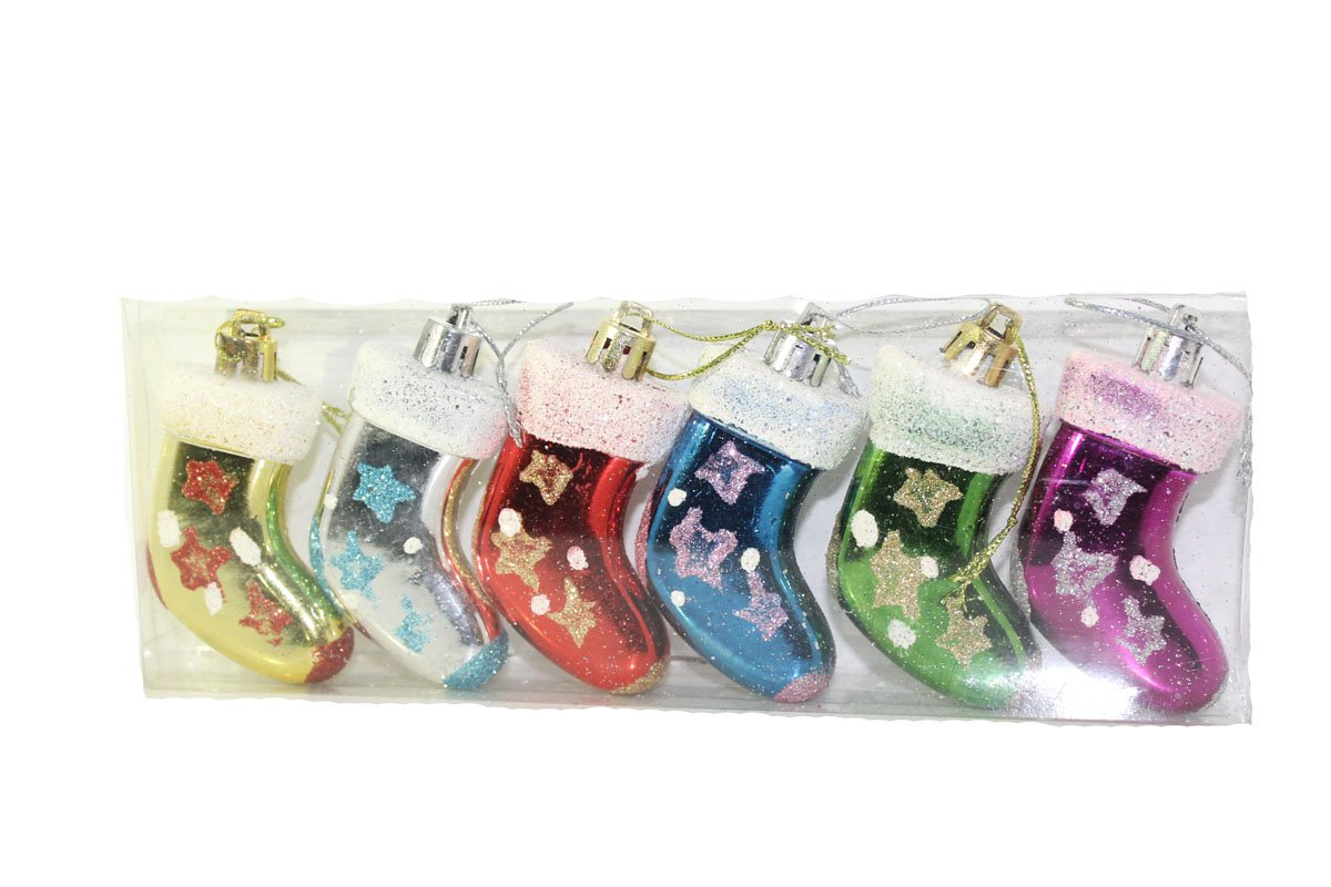 SARVSIDDHI Christmas Tree Decoration Santa Stockings Hanging Pack of 6
