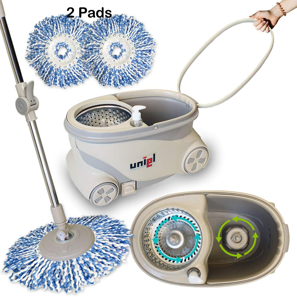 UNIEL Spin Mop and Bucket Microfiber Mop Easy to Move 360 Floor Cleaning System (Power Spin) by UNIEL