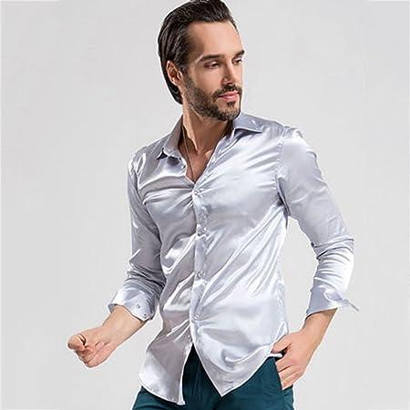 Camisas de los Hombres del Negocio Delgado de Moda de Manga Larga Casual Minimalistic Trajes Suaves y Transpirables Pop Juvenil Traje de Rendimiento Retro Camisas: Amazon.es: Hogar