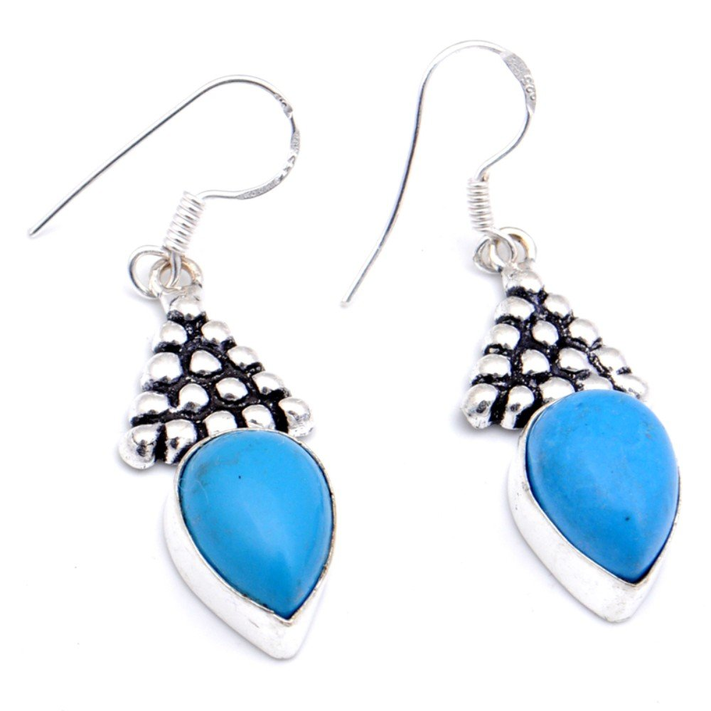 Blue Turquoise Sterling Silver Overlay Earring 1.75 Handmade Jewelry Outstanding