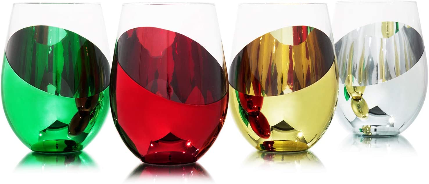 MyGift Modern Multicolored Stemless Wine Glasses Drinkware Set, Set of 4