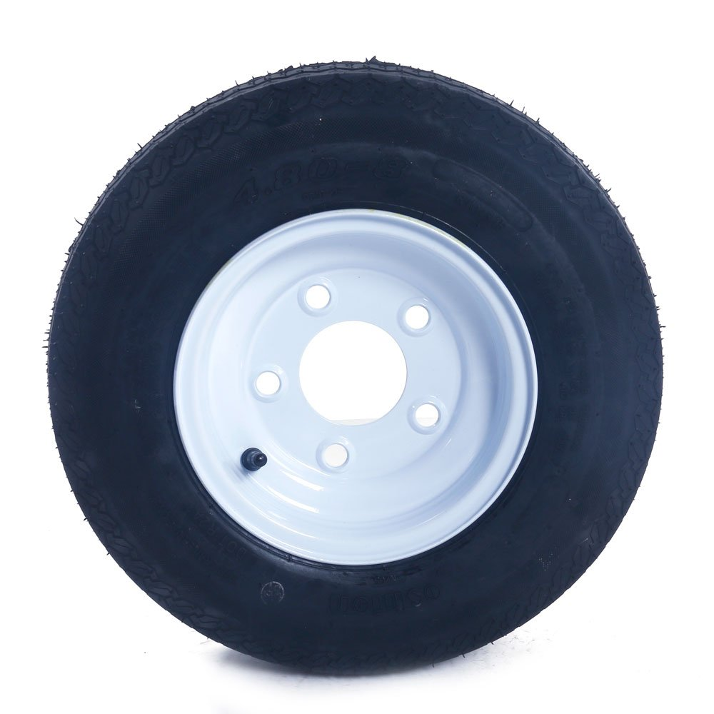 2 Tralier Tires & Rims 4.80-8 480-8 4.80 X 8 8'' B 5 Lug Hole Bolt P819 Wheel White Spoke by MILLION PARTS (Image #4)
