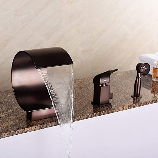 LightInTheBox Black Bathtub Faucets Shower Faucets Tub Faucets Oil-Rubbed Bronze Wall Mounted Ceramic Valve Hot and Cold Water Two Holes Single Handle Faucet with Shelf Handshower Included