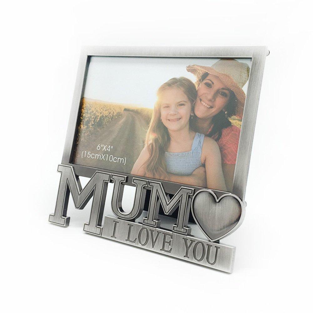 Marco de foto - fotos,Regalo del da de la madre,Marco de fotos metal,Antiguo portaretrato(Te amo mam) -A: Amazon.es: Hogar