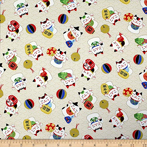 Trans-Pacific Textiles Asian Lucky Cat in the Neko Wave Beige Fabric Fabric by the ()