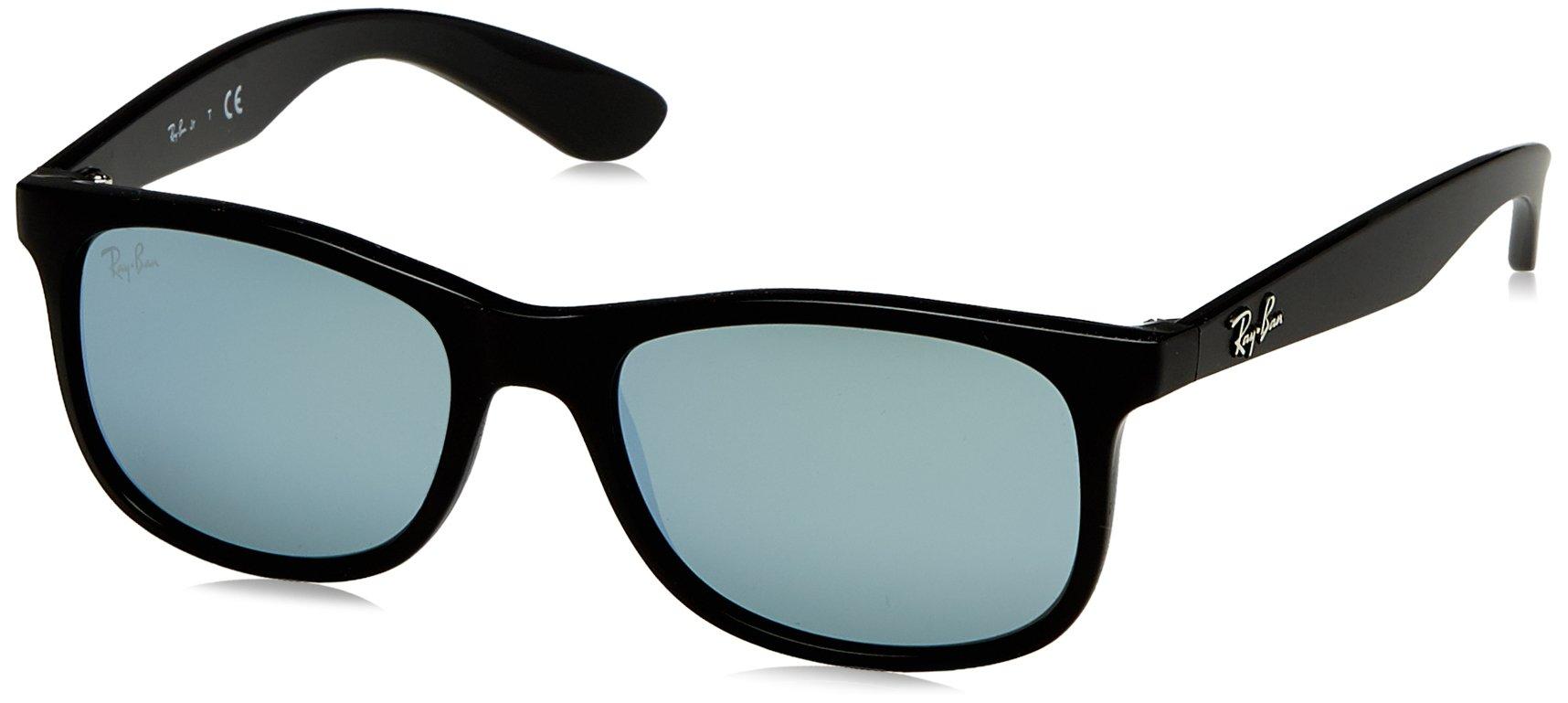 RAY-BAN JUNIOR Kids' RJ9062S Rectangular Kids Sunglasses, Matte Black On Black/Silver Mirror, 48 mm by RAY-BAN JUNIOR