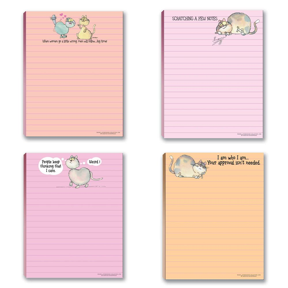 Funny Cat Theme Pads - 4 Assorted Kitty Note Pads