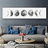Moon Phase Wall Art Painting, Black and White Moon Canvas Print Poster Wall Art Decoration for Bedroom Living room…