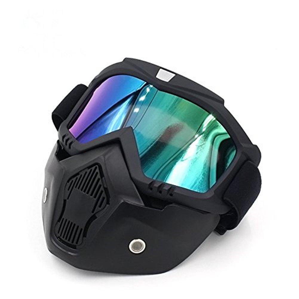 GZQ Motorradbrille mit abnehmbarer Maske, UV400 Sicherheitsbrille für Helm, winddicht, staubdicht, Motocross, Motorrad, für Schnee, zum Skifahren, Radfahren, Klettern, Reiten, Outdoor-Sport