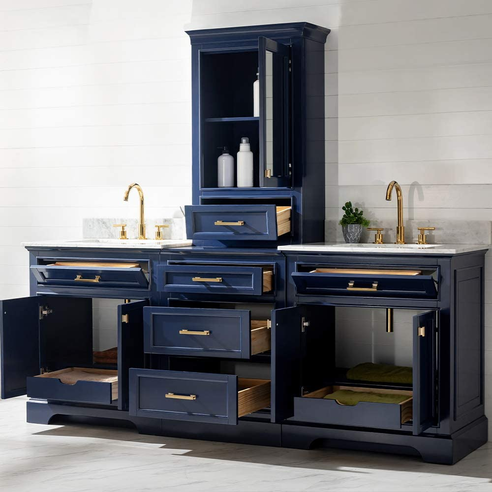 """LUCA Kitchen /& Bath LC96MOBW Savanna 96/"""" Double Basin Bathroom Vanity Modular Set in Midnight Blue with Wood Cabinet 4 Count Carrara Marble Top and Center Tower"""