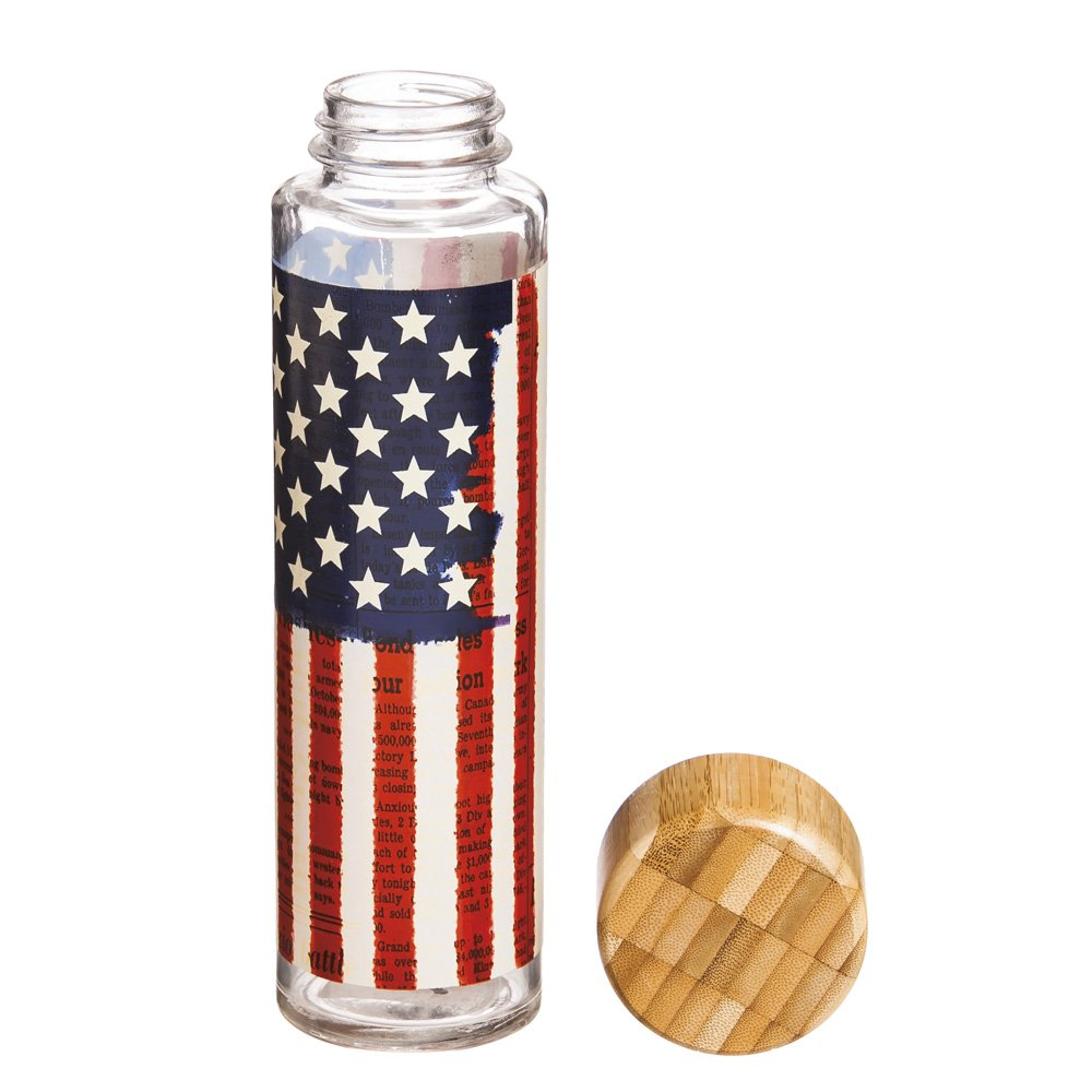 Cypress Home Americana Glass Water Bottle with Bamboo Lid, 20 ounces by Cypress Home (Image #2)