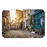 Flannel Microfiber Non-slip Rubber Backing Soft Absorbent Doormat Mat Rug Carpet Panoramic View Of Old Town In Europe In Beautiful Evening Light At Sunset With Retro Vintage 411845920 for Indoor/Outdo