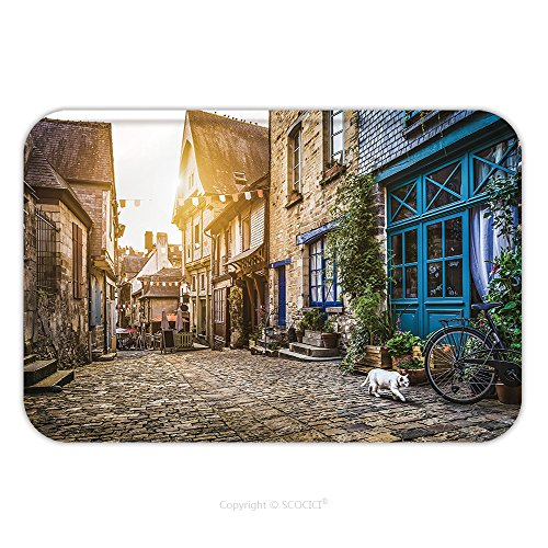 Flannel Microfiber Non-slip Rubber Backing Soft Absorbent Doormat Mat Rug Carpet Panoramic View Of Old Town In Europe In Beautiful Evening Light At Sunset With Retro Vintage 411845920 for - Perks The Sun