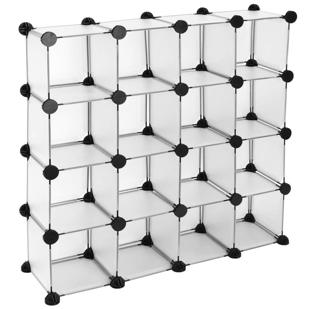 Armario Organizador Modular Estanter/ías de 16 Cubos de 17x17cm pl/ástico Blanco PrimeMatik