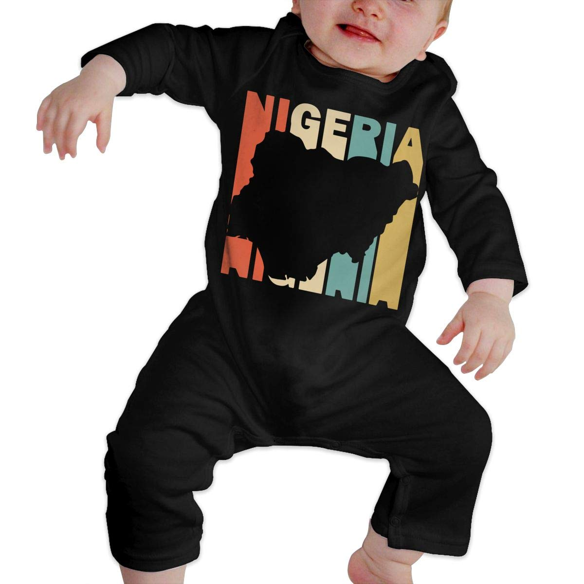 Cute Retro Style Nigeria Silhouette Crawler Long Sleeve Cotton Bodysuit for Unisex Baby