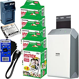 Fujifilm instax SHARE Smartphone Printer SP-2, Silver (International Version) + Instax Mini Instant Film (100 sheets) + Rchrgbl. Battery + AC/DC Charger + HeroFiber Cleaning Cloth