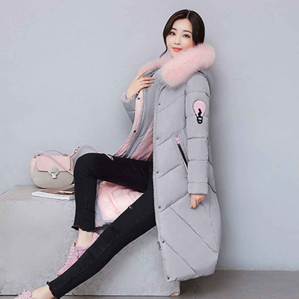 Amazon.com: KOROWA Women Winter Hooded Fur Collar Jacket Cotton Coat Long Outwears Top: Clothing