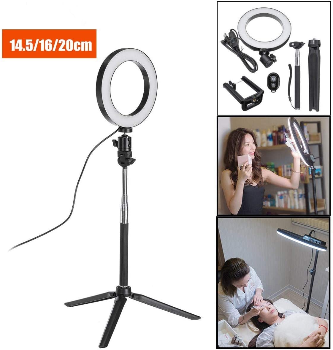 Color : White, Size : 5inch Canyixiu-Home Tripod Stand Phone Holder Bluetooth Tripod Selfie Stick with LED Ring Fill Light with Stand Lighting Kit for Phone Camera LED Ring Light Kit