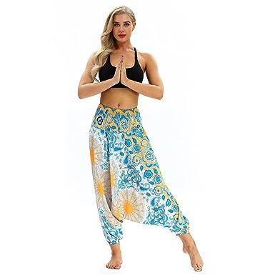 URSING Femmes Larges Jambières Décontractée Été en Vrac Bouffant Boho  Aladdin Jumpsuit Harem Pants Combinaison Sarouel 05ecdd12cbc9
