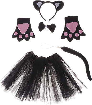 5pcs//set Black Cat Rabbit Tutu Costume Kids Fancy Dress Holiday Animal Accessory