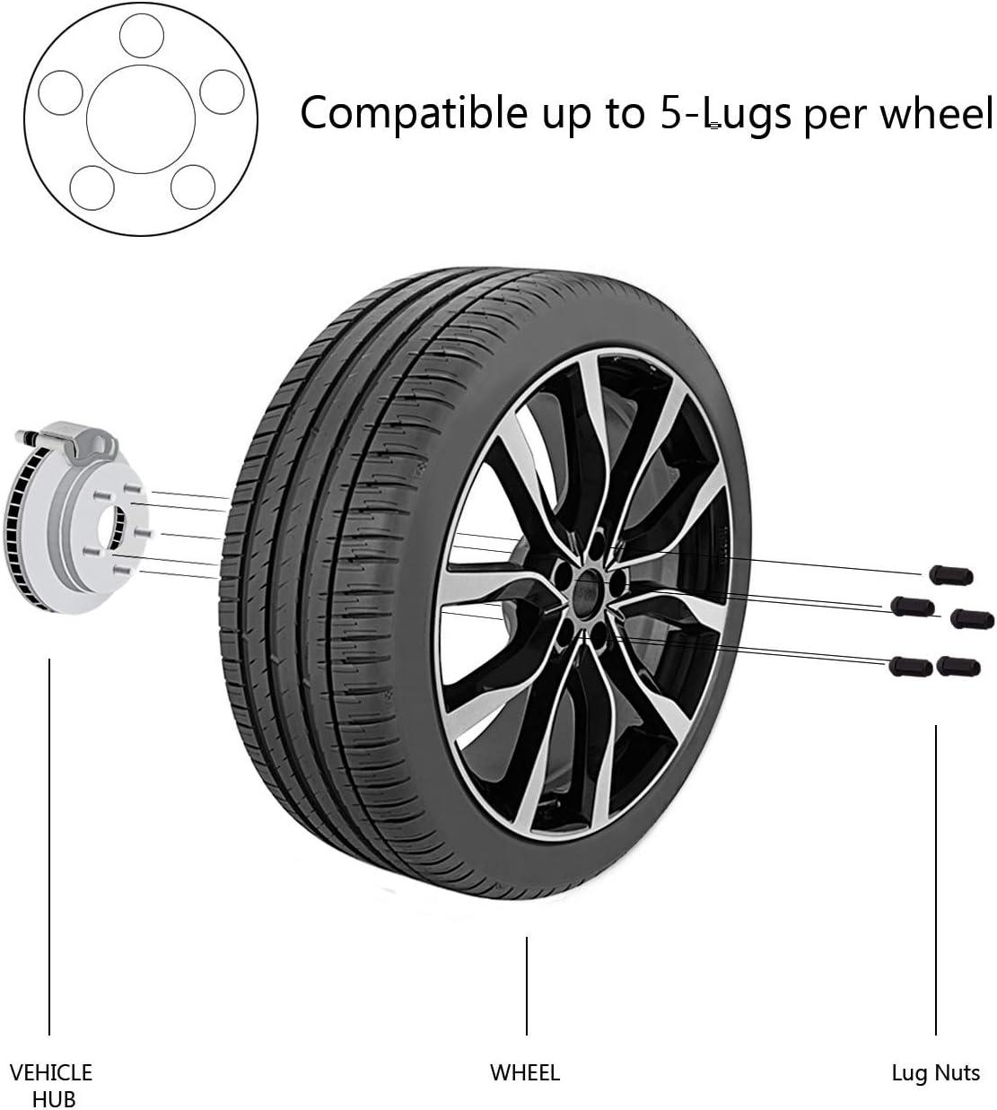 TC Sportline WH-LN12UN190BK 20 pcs Black Bulge Acorn Wheel Lug Nuts 1//2-20 Closed End 1.9 XL Tall 3//4 Hex