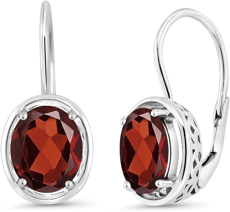 Red Jasper 18K Gold Plated 925 Sterling Silver Dangle Earrings Gemstone Jewelry