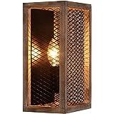 TABLIGHT 1-Light Wall Rectangle Birch Wood Metal with Internal Grid Wire Design for Bedroom, Living Room, Vestibule