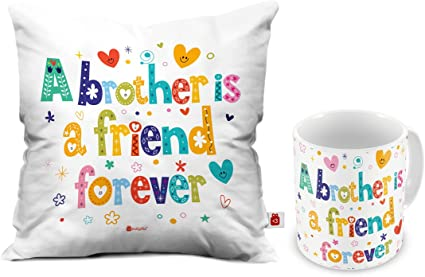 Indigifts Raksha Bandhan Gifts for Brother Bro is a Friend Forever Quote Coffee Mug & Cushion Cover 12x12 inch with Filler - Rakhi Gifts for Brother, Birthday Gifts for Brother, Rakshabandhan Gift at amazon