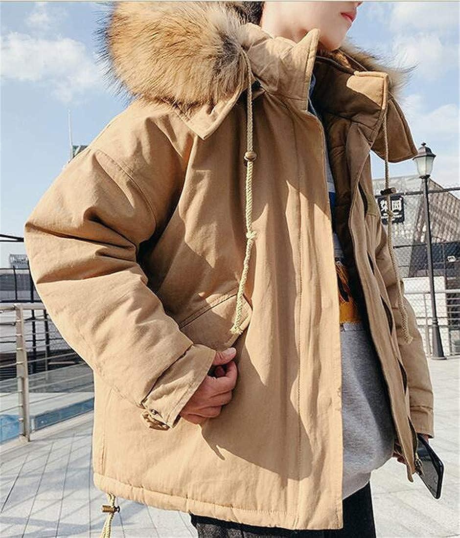 XiaoTianXinMen XTX Men Winter Plus Size Faux Fur Hooded Zip-Front Thicken Pea Coat
