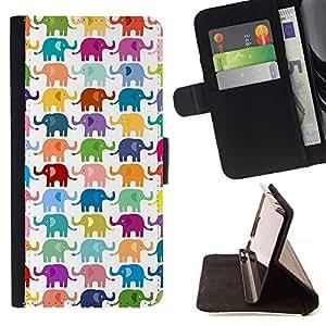 For Samsung Galaxy Note 4 IV Case , Modelo blanco colorido Niños- la tarjeta de Crédito Slots PU Funda de cuero Monedero caso cubierta de piel