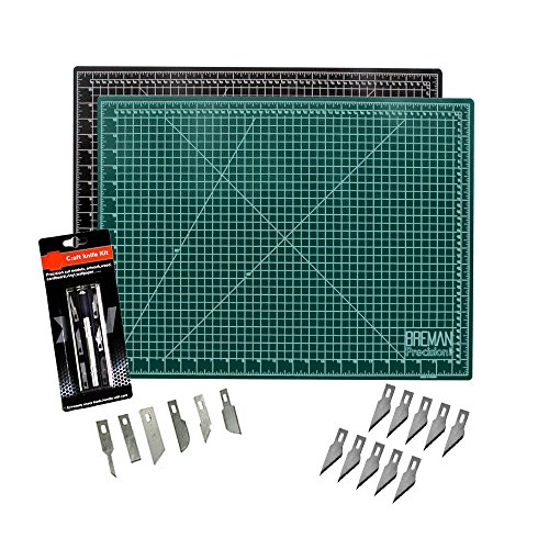 Cutting Mat & Craft Knife Set - Deluxe Package with Premium Self Healing Cutting Mat Precision 7 Piece Craft Hobby Knife Set & 10 Replaceable Craft Blades Perfect for Arts ()