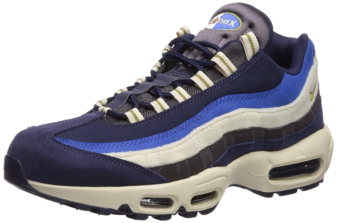Nike Men's Air Max 95 PRM Blackened BlueCamper GreenMonarch 538416 404 (Size: 9)