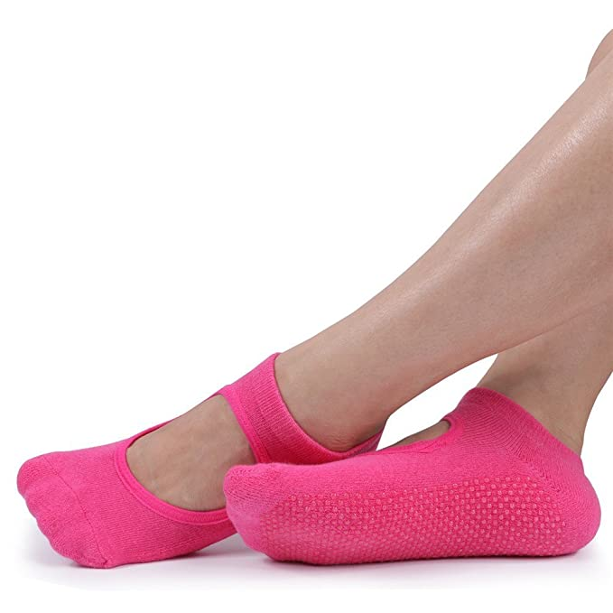 Amazon.com : MsFeng Womens Yoga Barre Socks Non Slip Skid for Barre Pilates Ballet 3 Pairs Cotton Socks : Sports & Outdoors