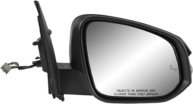 Fit System Driver Side Mirror for Toyota RAV4 Heated Power w//Turn Signal Textured Black w//PTM Cover Foldaway w//Blind spot Detection