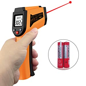Laser Infrared Thermometer Non-Contact Digital Temperature Gun,-50°C to 400°C(-58°F to 752°F) IR Thermometer for Industrial,Kitchen Cooking,Ovens (Orange)